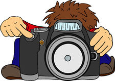 Little photographer  and big camera Royalty Free Stock Photos
