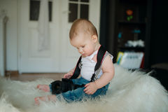 Little photographer with camera Stock Photos