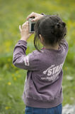 Little photographer girl Royalty Free Stock Photography