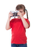 Little photographer with old fashioned camera Stock Photography