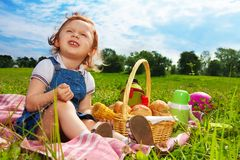 Little picnicker in the park Stock Photo