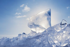 Ice of Baikal lake in Siberia Royalty Free Stock Photo