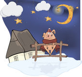 Little pig and Christmas night Stock Image