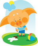 Little pig dropped his ice cream Stock Image