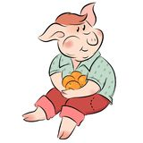 Little pig eating oranges. Little chubby pig eating oranges, the symbol of new year Royalty Free Stock Photo