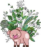 Little pig with green weeds Royalty Free Stock Images