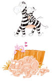 The little pig and the little zebra. Royalty Free Stock Photos