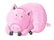 Little pig resting stock photo