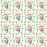 Little pig in Santa Claus hat with green Christmas trees stock illustration