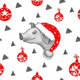 Little pig in Santa Claus hat on the white background royalty free illustration
