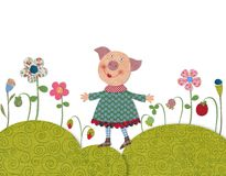 Little pig walking on flowering meadow Royalty Free Stock Photo
