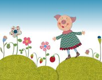 Little pig walking on flowering meadow Stock Photos