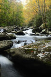 Little Pigeon River in Smoky Mountains. Little Pigeon River in Autumn in Tremont of Great Smoky Mountains National Park Stock Photo
