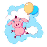 Little piggy with balloons flying in the sky Stock Photography