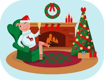 The little piggy celebrates Christmas at home vector illustration