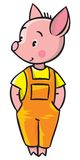 Little piglet. Children vector illustration of little piglet in orange overall Stock Photo