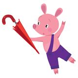 Little piglet with umbrella Stock Image