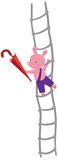 Little piglet with umbrella on ladder Royalty Free Stock Photography
