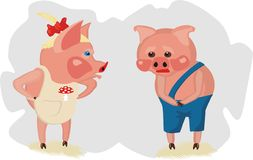 Little piglets are quarrelling Royalty Free Stock Photography