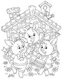 Little piglets. Three little piglets dancing before their house, black and white outline illustration for a coloring book Royalty Free Stock Photos