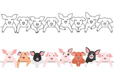 Little pigs border set. Set of  various colors of little pigs border Royalty Free Stock Photography