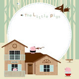 Little pigs frame. The illustration of the fairy tale featuring the three little pigs Stock Photos