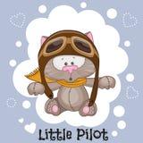 Little Pilot. Cute cartoon Cat in a pilot hat royalty free illustration