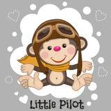 Little Pilot. Cute cartoon Monkey in a pilot hat vector illustration