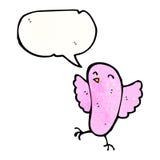Little pink bird cartoon. Retro cartoon with texture. Isolated on White Royalty Free Stock Photo