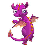Little pink cartoon dragon Stock Photos