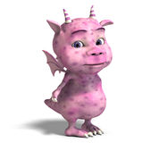 Little pink cute toon dragon devil Royalty Free Stock Image