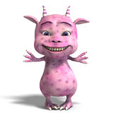 Little pink cute toon dragon devil Stock Photo