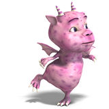 Little pink cute toon dragon devil Stock Images