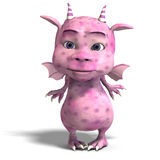 Little pink cute toon dragon devil. 3D rendering of a little pink cute toon dragon devil with clipping path and shadow over white Royalty Free Stock Photography