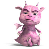 Little pink cute toon dragon devil. 3D rendering of a little pink cute toon dragon devil with clipping path and shadow over white Stock Image