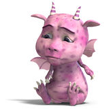 Little pink cute toon dragon devil Royalty Free Stock Photo