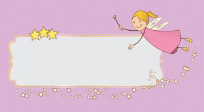 Pink fairy card banner. A pink card with a flying fairy Royalty Free Stock Image