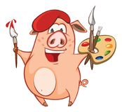 Illustration of a Cute Pig. Cartoon Character Stock Photography
