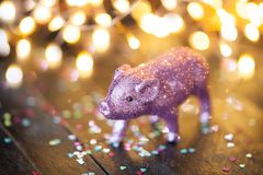 Little pink pig as a lucky charm Royalty Free Stock Photo