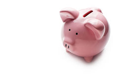 Little pink piggy bank on white Stock Photos