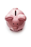 Little pink piggy bank on white Royalty Free Stock Photography