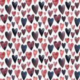 Little pink purple and blue hearts watercolor royalty free illustration