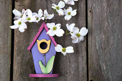 Little pink, purple and yellow birdhouse on rustic fence Royalty Free Stock Image