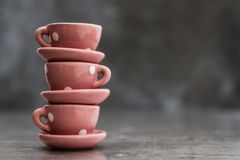 Little Pink Toy Porcelain Cups and Plates with White Dots Stock Photography
