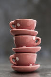 Little Pink Toy Porcelain Cups and Plates with White Dots Stock Photos