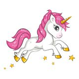 Little pink unicorn. Stock Image