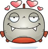 Little Piranha in Love. A cartoon illustration of a piranha in love Stock Photography