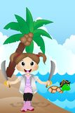 Little Pirate on Beach Cartoon Vector Royalty Free Stock Photo