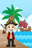 Little Pirate on Beach Cartoon Vector Royalty Free Stock Photos