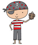 Little Pirate Boy. Cute little Pirate Boy Illustration. Fun for Party invites, favors or Halloween Stock Photo